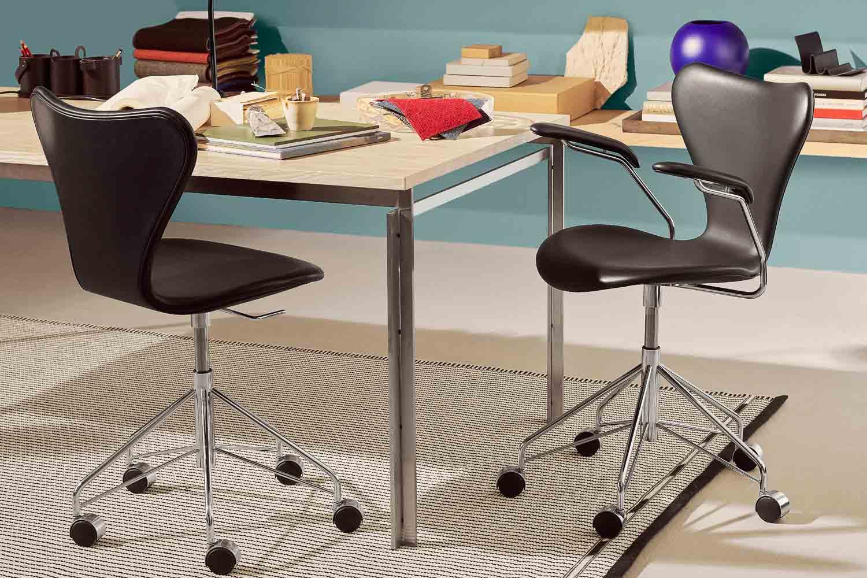 Fritz Hansen SERIE 7 Office Armlehnstuhl Leder Leather Qvartz Boutique Danoise Basel Daenische Designer Moebel Accessoires Wohnen