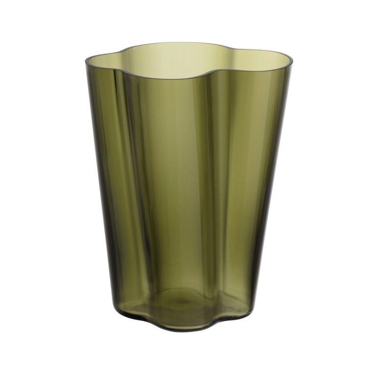 Hohe moosgrüne Iittala Alvar Aalto Vase bei der Boutique Danoise