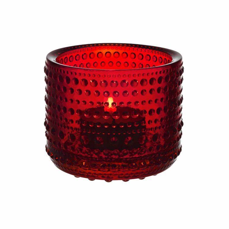 Rotes Iittala Teelicht Kastehelmi bei der Boutique Danoise