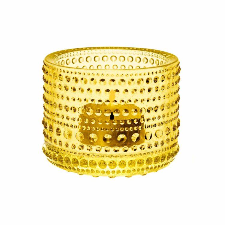 Gelbes Iittala Teelicht Kastehelmi bei der Boutique Danoise