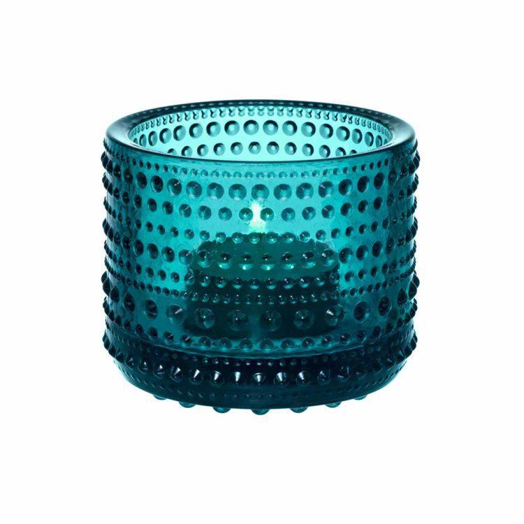 Blaues Iittala Teelicht Kastehelmi bei der Boutique Danoise