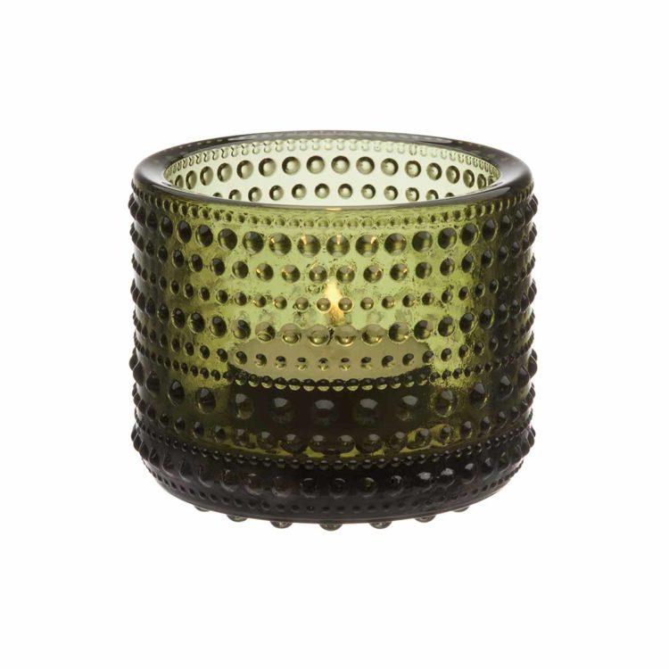 Moosgrünes Iittala Teelicht Kastehelmi bei der Boutique Danoise