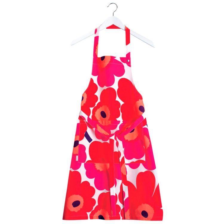 Rote Marimekko Unikko Schürze bei der Boutique Danoise